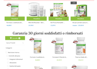 HlifeItalia.com - Sito ecommerce supportato da una importante campagna pubblicitaria strategica, realizzati per un membro Herbalife